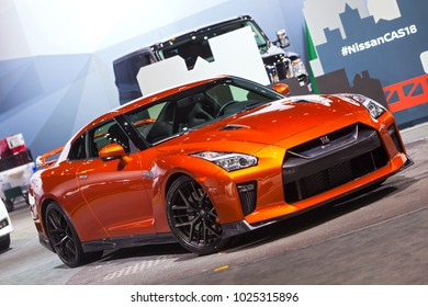 CHICAGO - February 8: The 2018 Nissan GTR on display at the Chicago Auto Show media preview February 8, 2018 in Chicago, Illinois.