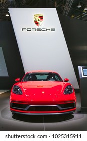 CHICAGO - February 8: The 2018 Porsche 911 on display at the Chicago Auto Show media preview February 18, 2018 in Chicago, Illinois.