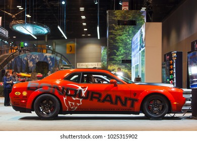 CHICAGO - February 8: The 2019 Dodge Charger Demon on display at the Chicago Auto Show media preview February 8, 2018 in Chicago, Illinois.