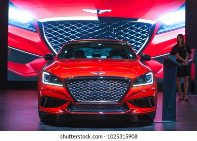 CHICAGO - February 8: The 2019 Genesis G80 Sport on display at the Chicago Auto Show media preview February 8, 2018 in Chicago, Illinois.
