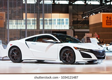 CHICAGO - February 8: The Acura NSX supercar on display at the Chicago Auto Show media preview February 8, 2018 in Chicago, Illinois.