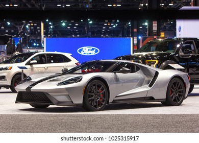 CHICAGO - February 8: The Ford GT supercar on display at the Chicago Auto Show media preview February 8, 2018 in Chicago, Illinois.