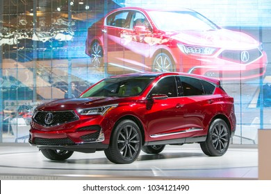 CHICAGO - February 8: The new 2019 Acura RDX on display at the Chicago Auto Show media preview February 8, 2018 in Chicago, Illinois.
