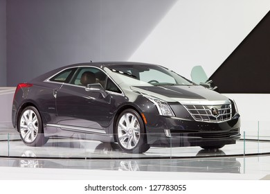 CHICAGO - FEBRUARY 8 : The new Cadillac ELR on display at the Chicago Auto Show media preview February 8, 2013 in Chicago, Illinois.