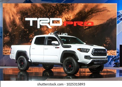 CHICAGO - February 8: The new Toyota TRD Pro on display at the Chicago Auto Show media preview February 8, 2018 in Chicago, Illinois.