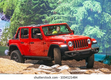 CHICAGO - February 8: Test driving the 2018 Jeep Rubicon at the Chicago Auto Show media preview February 8, 2018 in Chicago, Illinois.