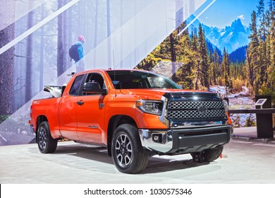 CHICAGO - February 8: The Toyota Tundra TRD Pro on display at the Chicago Auto Show media preview February 8, 2018 in Chicago, Illinois.