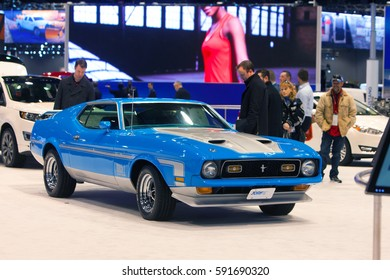CHICAGO - February 9: A 1971 Ford Mustang on display at the Chicago Auto Show media preview February 9, 2017 in Chicago, Illinois.
