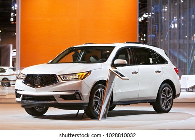 CHICAGO - February 9: The 2018 Acura MDX on display at the Chicago Auto Show media preview February 9, 2018 in Chicago, Illinois.