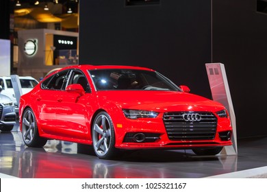 CHICAGO - February 9: The 2018 Audi S7 on display at the Chicago Auto Show media preview February 9, 2018 in Chicago, Illinois.