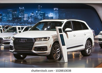 CHICAGO - February 9: The 2018 Audi Q7 on display at the Chicago Auto Show media preview February 9, 2018 in Chicago, Illinois.