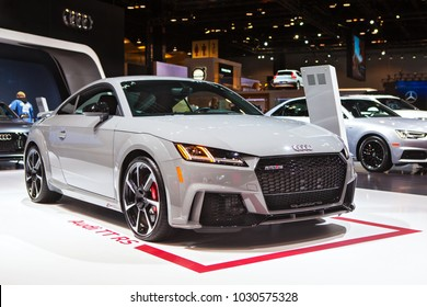 CHICAGO - February 9: The 2018 Audi TT RS on display at the Chicago Auto Show media preview February 9, 2018 in Chicago, Illinois.