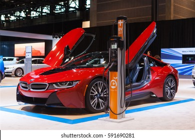 CHICAGO - February 9: A 2018 BMW i8 on display at the Chicago Auto Show media preview February 9, 2017 in Chicago, Illinois.