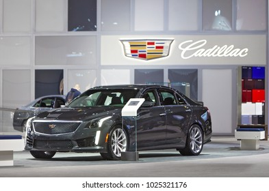 CHICAGO - February 9: The 2018 Cadillac XTS on display at the Chicago Auto Show media preview February 9, 2018 in Chicago, Illinois.