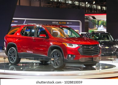 CHICAGO - February 9: The 2018 Chevrolet Traverse on display at the Chicago Auto Show media preview February 9, 2018 in Chicago, Illinois.
