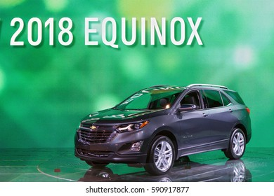 CHICAGO - February 9: The 2018 Chevrolet Equinox on display at the Chicago Auto Show media preview February 9, 2017 in Chicago, Illinois.