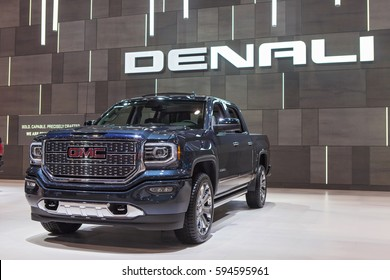 CHICAGO - February 9: The 2018 Denali pickup truck on display at the Chicago Auto Show media preview February 9, 2017 in Chicago, Illinois.