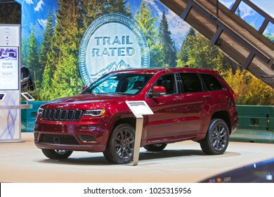 CHICAGO - February 9: The 2018 Jeep Grand Cherokee on display at the Chicago Auto Show media preview February 9, 2018 in Chicago, Illinois.