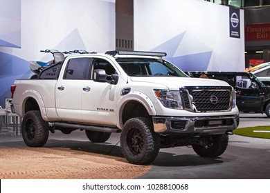 CHICAGO - February 9: The 2018 Nissan Titan XD on display at the Chicago Auto Show media preview February 9, 2018 in Chicago, Illinois.