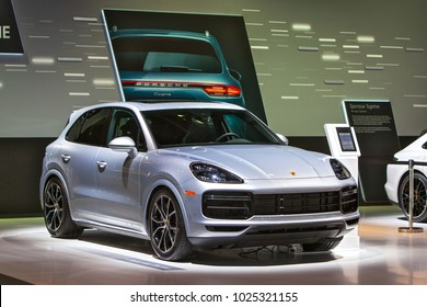 CHICAGO - February 9: The 2018 Porsche Cayenne on display at the Chicago Auto Show media preview February 9, 2018 in Chicago, Illinois.