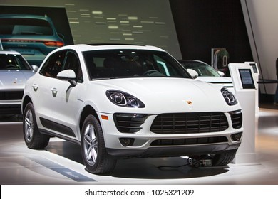 CHICAGO - February 9: The 2018 Porsche Macan on display at the Chicago Auto Show media preview February 9, 2018 in Chicago, Illinois.