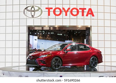 CHICAGO - February 9: The 2018 Toyota Camry on display at the Chicago Auto Show media preview February 9, 2017 in Chicago, Illinois.