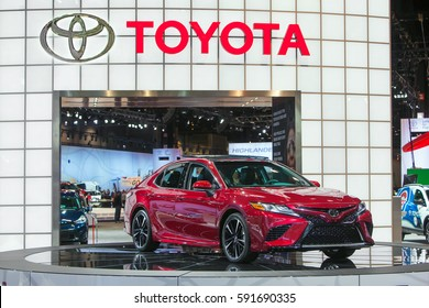 CHICAGO - February 9: The 2018 Toyota Camry on display at the Chicago Auto Show media preview February 9, 2016 in Chicago, Illinois.