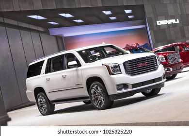 CHICAGO - February 9: The 2018 Yukon Denali on display at the Chicago Auto Show media preview February 9, 2018 in Chicago, Illinois.