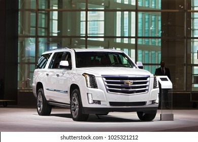 CHICAGO - February 9: The 2019 Cadillac Escalade on display at the Chicago Auto Show media preview February 9, 2018 in Chicago, Illinois.