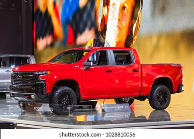 CHICAGO - February 9: The 2019 Chevrolet Silverado LT on display at the Chicago Auto Show media preview February 9, 2018 in Chicago, Illinois.