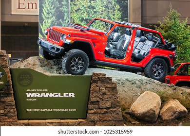 CHICAGO - February 9: The 2019 Chrysler Jeep Rubicon on display at the Chicago Auto Show media preview February 9, 2018 in Chicago, Illinois.