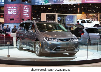 CHICAGO - February 9: The 2019 Chyrsler Pacifica on display at the Chicago Auto Show media preview February 9, 2018 in Chicago, Illinois.
