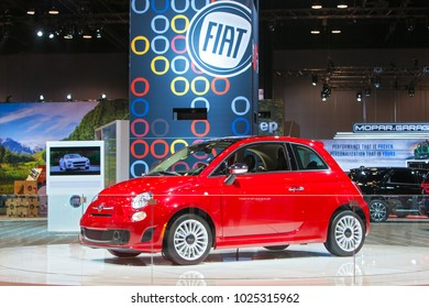 CHICAGO - February 9: The 2019 Fiat on display at the Chicago Auto Show media preview February 9, 2018 in Chicago, Illinois.