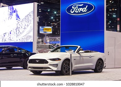 CHICAGO - February 9: The 2019 Ford Mustang convertible 5.0 on display at the Chicago Auto Show media preview February 9, 2018 in Chicago, Illinois.