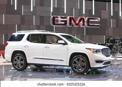 CHICAGO - February 9: The 2019 GMC Arcadia Denali on display at the Chicago Auto Show media preview February 9, 2018 in Chicago, Illinois.