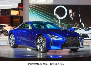 CHICAGO - February 9: The 2019 Lexus LC500 on display at the Chicago Auto Show media preview February 9, 2018 in Chicago, Illinois.