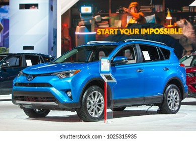 CHICAGO - February 9: The 2019 Rav4 Hybrid on display at the Chicago Auto Show media preview February 9, 2018 in Chicago, Illinois.
