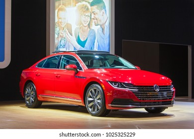 CHICAGO - February 9: The 2019 Volkswagen Arteon on display at the Chicago Auto Show media preview February 9, 2018 in Chicago, Illinois.