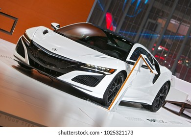 CHICAGO - February 9: The Acura NSX on display at the Chicago Auto Show media preview February 9, 2018 in Chicago, Illinois.