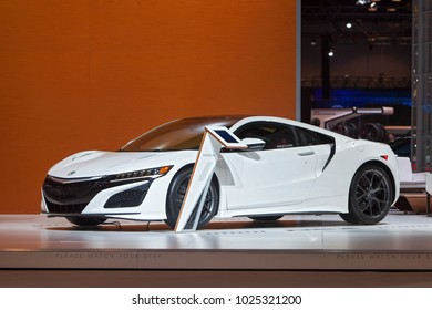CHICAGO - February 9: The Acura NSX Supercar on display at the Chicago Auto Show media preview February 9, 2018 in Chicago, Illinois.