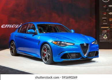 CHICAGO - February 9: The Alfa Romeo Guilia on display at the Chicago Auto Show media preview February 9, 2017 in Chicago, Illinois.