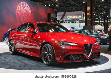 CHICAGO - February 9: An Alfa Romeo Guilia on display at the Chicago Auto Show media preview February 9, 2017 in Chicago, Illinois.