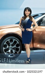 CHICAGO - February 9: An Auto Show model poses with the Lexus LF-1 Limitless concept at the Chicago Auto Show media preview February 9, 2018 in Chicago, Illinois.