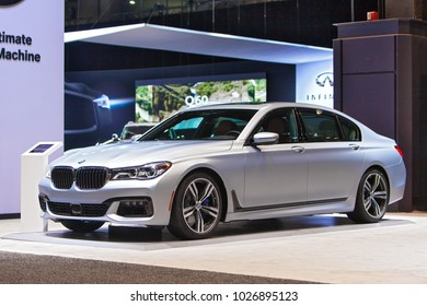CHICAGO - February 9: A BMW 5 Series sedan on display at the Chicago Auto Show media preview February 9, 2018 in Chicago, Illinois.