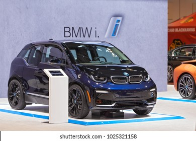 CHICAGO - February 9: The BMW i3 electric vehicle on display at the Chicago Auto Show media preview February 9, 2018 in Chicago, Illinois.