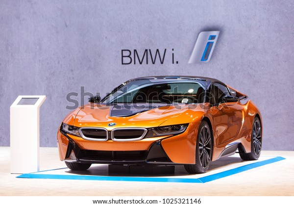 CHICAGO - February 9: The BMW i8 electric vehicle on display at the Chicago Auto Show media preview February 9, 2018 in Chicago, Illinois.