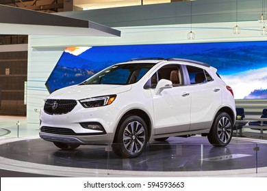 CHICAGO - February 9: A Buick Encore on display at the Chicago Auto Show media preview February 9, 2017 in Chicago, Illinois.
