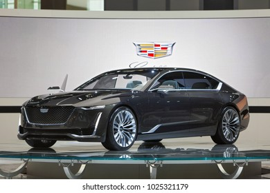 CHICAGO - February 9: The Cadillac Escala concept on display at the Chicago Auto Show media preview February 9, 2018 in Chicago, Illinois.
