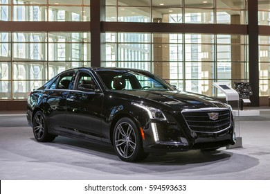 CHICAGO - February 9: A Cadillac STS on display at the Chicago Auto Show media preview February 9, 2017 in Chicago, Illinois.