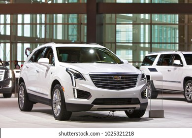 CHICAGO - February 9: A Cadillac XTC on display at the Chicago Auto Show media preview February 9, 2018 in Chicago, Illinois.